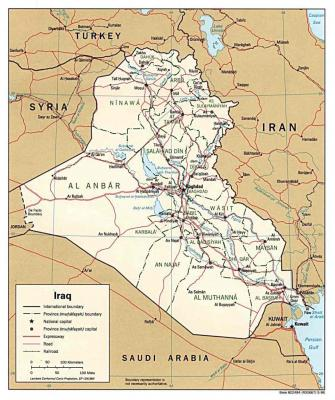 Landkarte vom Irak - Zentren der Christen: Dohuk, Erbil, Mosul, Kirkuk, Bagdad