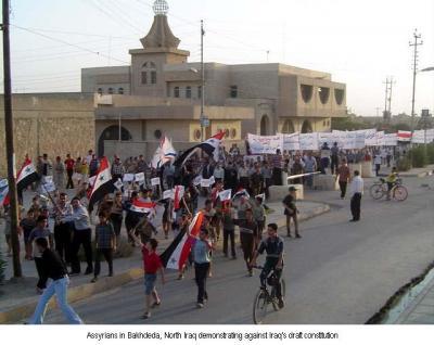 Assyrische Proteste gegen die neue irakische Verfassung Okt. 2005