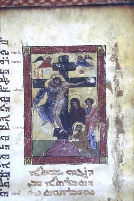 Kreuzigung aus dem Evangeliar von Hah 13. Jhd.