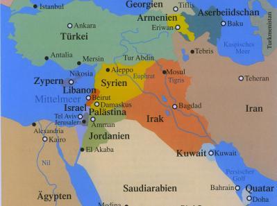 Landkarte vom Nahen Osten - Christen im Orient