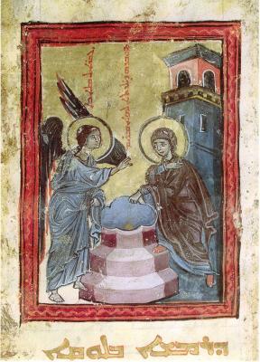 Adventsbild aus dem Evangeliar von Hah